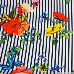Crêpe lourd polyester imprimé marinière fleurie noire