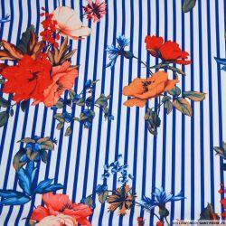 Crêpe lourd polyester imprimé marinière fleurie bleue