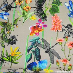Crêpe lourd polyester imprimé microsome du jardin sépia
