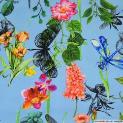 Crêpe lourd polyester imprimé microsome du jardin bleu