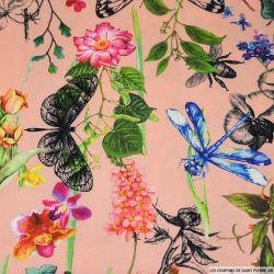 Crêpe lourd polyester imprimé microsome du jardin rose