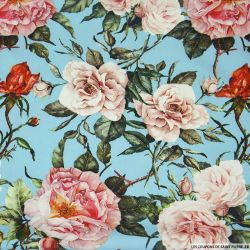 Crêpe lourd polyester imprimé rosier fond bleu