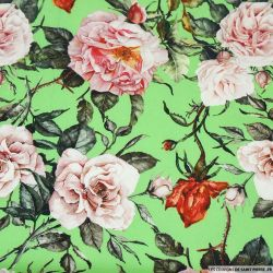 Crêpe lourd polyester imprimé rosier fond vert