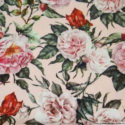 Crêpe lourd polyester imprimé rosier fond rose
