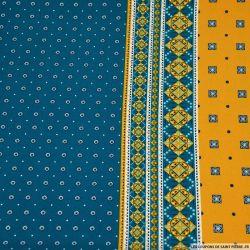 Crêpe lourd polyester imprimé mosaïque ancienne bleu canard