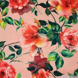 Crêpe lourd polyester imprimé fleur de lys et pivoine rose