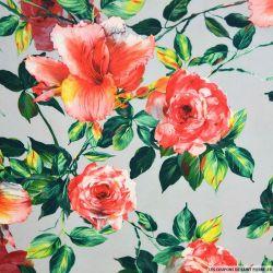 Crêpe lourd polyester imprimé fleur de lys et pivoine gris