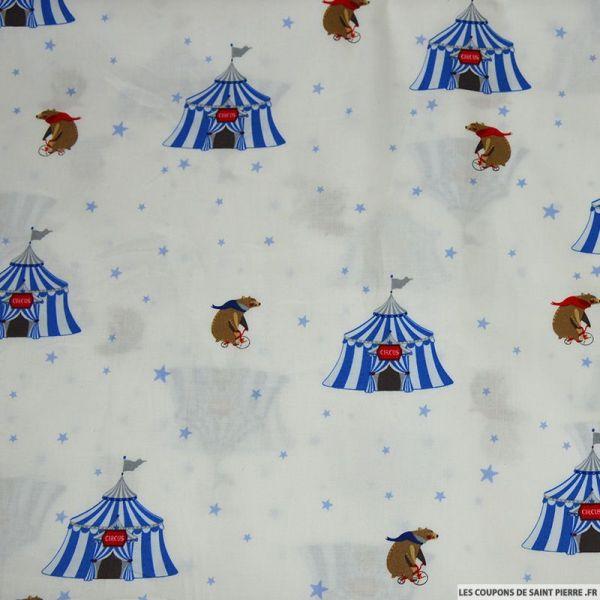 Coton imprimé circus bear bleu fond blanc
