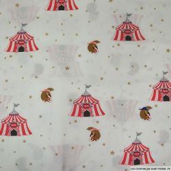 Coton imprimé circus bear rouge fond blanc