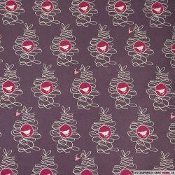 Coton Gütermann imprimé rouge-gorge et coeur fuchsia fond violet pourpre