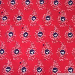 Coton Gütermann imprimé rouge-gorge et coeur violet fond rouge