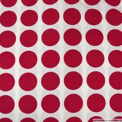 Coton imprimé gros pois rouge framboise