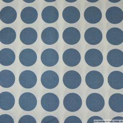 Coton imprimé gros pois bleu distant