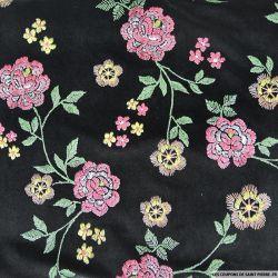 Panne de velours floqué fleurs solitaire