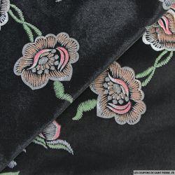 Panne de velours floqué fleurs en groupe