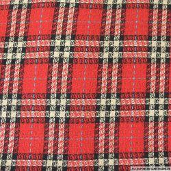 Tweed à carreaux rouge, écru et bleu
