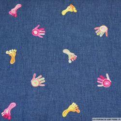 Chambray de coton fin brodé mains et pieds fond jean
