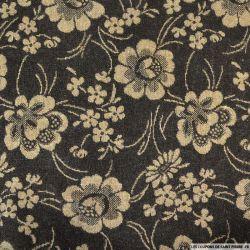 Jacquard Polyester fleurs marron et beige