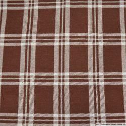 Flanelle polyester à carreaux marron