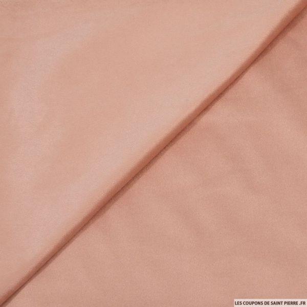 Tissu aspect daim double-face rose clair