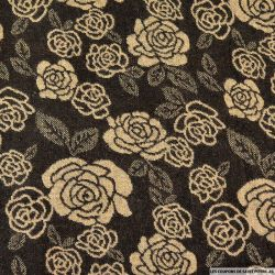Jacquard Polyester rose marron et beige