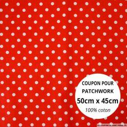 Coton rouge imprimé pois Coupon 50x45cm