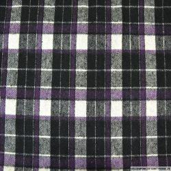 Lainage à carreaux noir, blanc et violet