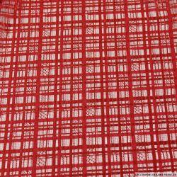 Dentelle polyester à carreaux tons sur tons rouge