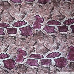 Simili cuir polyester imprimé serpent violet