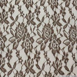 Dentelle polyester motif floral chocolat irisée