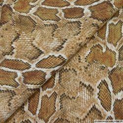 Simili cuir polyester imprimé serpent camel