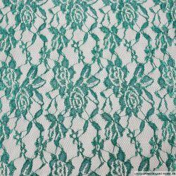 Dentelle polyester motif floral vert forêt irisé