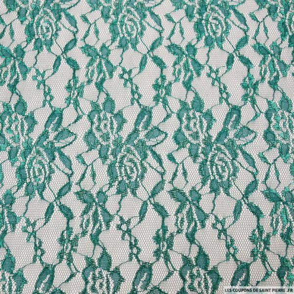 Dentelle polyester motif floral vert forêt irisée
