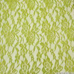 Dentelle polyester motif floral thé vert irisé