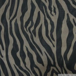Mousseline polyester imprimée savane taupe