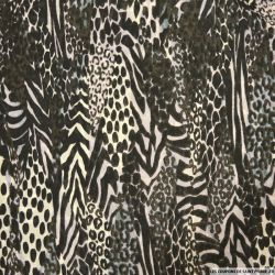 Mousseline polyester imprimée sauvage noir et blanc