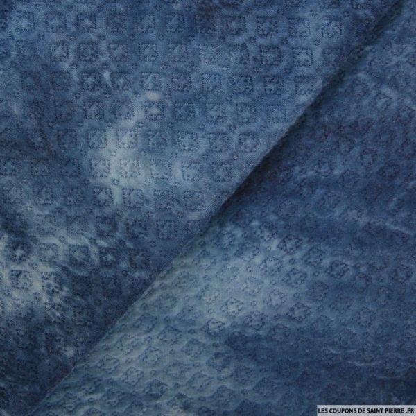 Jersey imprimé tie and dye  bleu zigzag