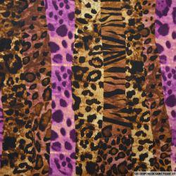 Satin polyester imprimé sauvage violet