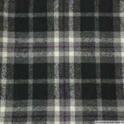 Lainage à carreaux noir, gris et trait violet