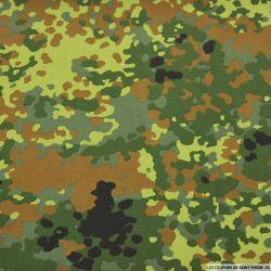 Toile imprimée camouflage moucheté vert